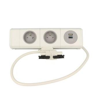 Port PANDA 2X230  1x TUF 0,8cm GST Jcup mocowanie na taśmę, port biały, gniazdka szare
